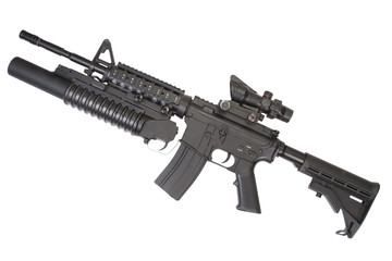 An M4A1 carbine equipped with an M203 grenade launcher