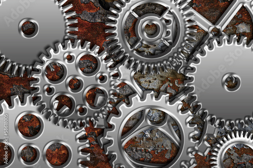 Chrome Gears on Grunge Texture Background