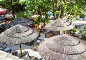 Thatched Roofs on Patio