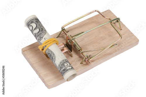Mousetrap with dollar bill