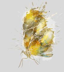 Golden grunge butterfly