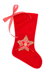 red christmas stocking for Santas gifts