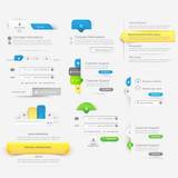 Collection of website template navigation elements with icons