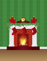 Fireplace with Christmas Decoration Wallpaper Illustration