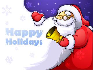 Christmas card with Jolly Santa and a huge beard