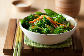 closeup of healthy, vegetarian broccoli stir fry