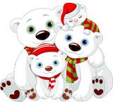 Fototapety Big Polar bear family at Christmas