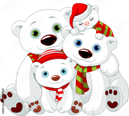 Big Polar bear family at Christmas