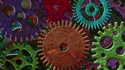 Mechanical Gears Rotating on Grunge Texture Background