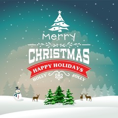 Christmas greeting card with background