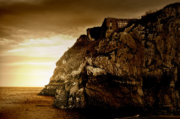 Sepia Tinted Cliff Ruins