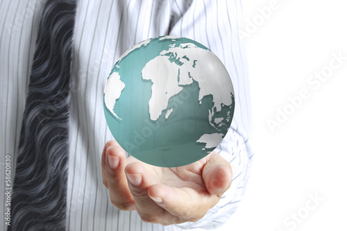 glowing earth globe in his hands