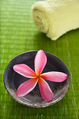frangipani flower in wooden bowl on straw mat