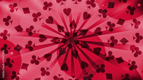 Gambling Card Suits in Red looping Animated Background
