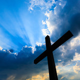 Cross silhouette and the holy blue sky