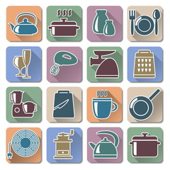 Vector Kitchenware Retro Flat Icons