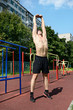 Athletic workout in summer