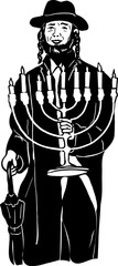 Jewish menorah in hat with hands
