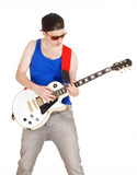 Teenage Boy with Sunglasses Playing Electric Guitar