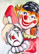 White clown and  red clown