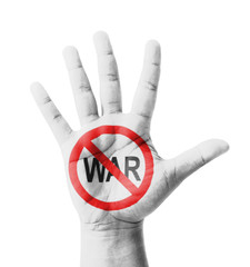 Open hand raised, No War sign painted, multi purpose concept