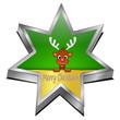 Reindeer Rudolph wishing Merry Christmas star Button