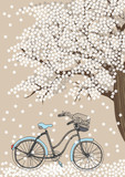 Bicycle and Blooming Tree