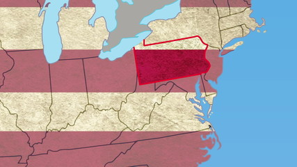 Pennsylvania pull out, smooth USA map, all states available