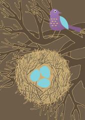 Bird, Nest and Three Eggs