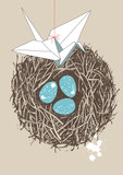 Eggs in Nest and Paper Crane