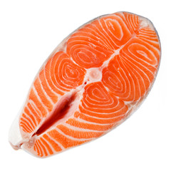 Salmon steak on a white background. With clipping path