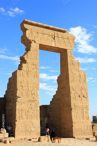 ancient gates with Egyptian symbols