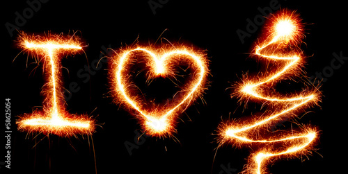 I Love Christmas symbols made with sparkler light