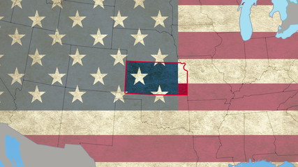 Kansas pull out, smooth USA map, all states available