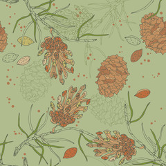 Green Seamless Pattern with Cones