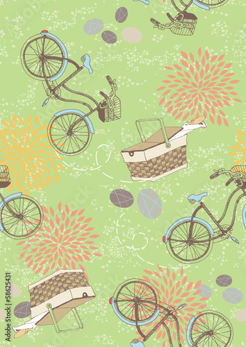 Green Seamless Pattern with Bicycles