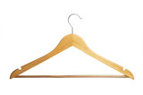 Wooden hanger on white background