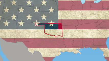 Oklahoma pull out, smooth USA map, all states available