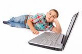 little boy using a laptop