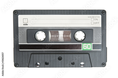 Grunge audio cassette on white