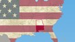 Alabama pull out, smooth USA map, all states available