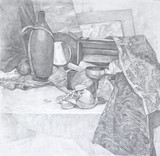 Hand drawn still life. Pencil on paper