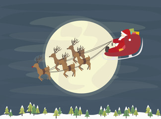 Santa with reindeers flying over the forest