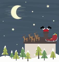 Santa Claus funny in the chimney vector