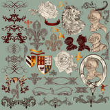 Collection of vector heraldic elements and page decorations
