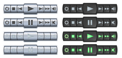Video audio player buttons, two templates