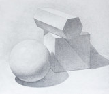 Hand drawn still life with geometric figures. Pencil on paper