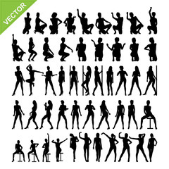 Sexy lady and dancing silhouettes vector set 12
