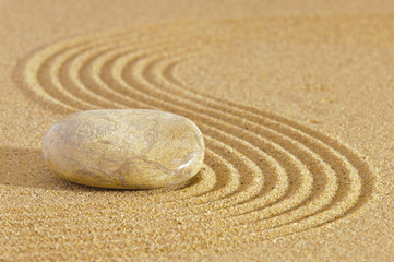 Japanese ZEN garden with stone in raked sand