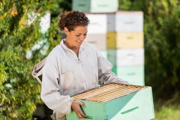 Female Beekeeper In Apiary